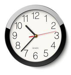 Round wall clock without divisions in black vector