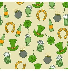 Saint Patricks Day seamless pattern with beer and vector image