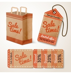 Sale items cardboard set vector image