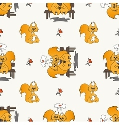 Seamless pattern with loved squirrel vector image