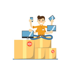 Seller man with electronic gadgets vector