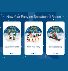 set mobile app pages about new year holiday vector image