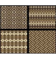 Set of four knitted swatches with fair isle vector image
