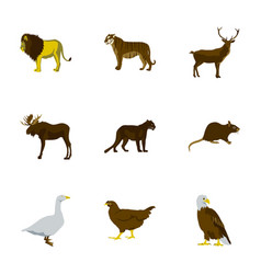 set of in flat style animals vector image