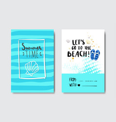 set summer time badge isolated typographic design vector image