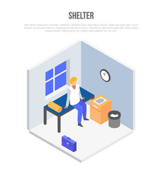 Shelter room concept background isometric style vector