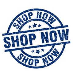 Shop now blue round grunge stamp vector