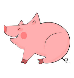 smiling pig on white background vector image