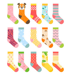 socks set cartoon flat vector image