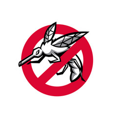 Stop mosquito sign mascot vector