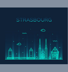 strasbourg city skyline grand est france vector image