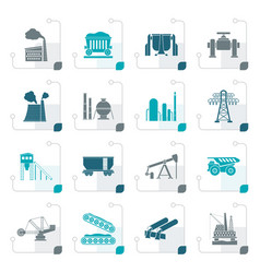 stylized heavy industry icons vector image