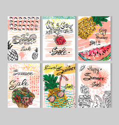 summer hand drawn abstract calligraphic card set vector image
