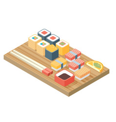 Sushi japanese cuisine asia food icon set with vector