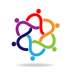 teamwork swirly people friendship icon vector image