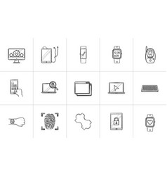 technology and gadgets hand drawn outline doodle vector image