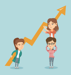 Three young business women holding growth graph vector