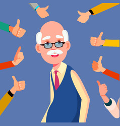 thumbs up old man public respect business vector image