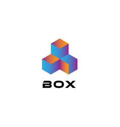 triple cube box logo sign symbol icon vector image