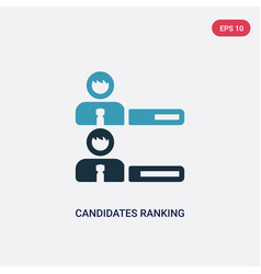 Two color candidates ranking graphic icon from vector