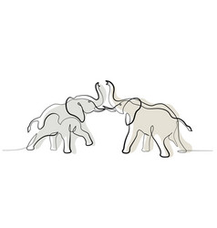 Two elephants fighting one line art drawing vector