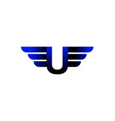 U letter wing logo vector