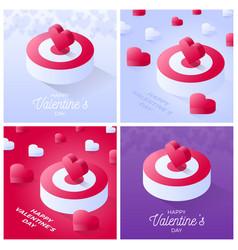 valentine day card set happy valentine day vector image