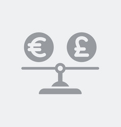 Value between currency euro and sterling vector