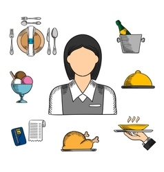 Waitress and restaurant color icons vector