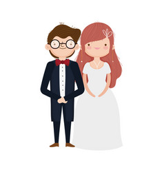 wedding couple bride and groom in elegant suits vector image
