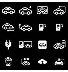 white electric car icon set vector image