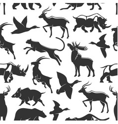 wild animals hunting seamless pattern vector image