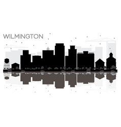 Wilmington city skyline black and white vector