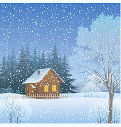 Winter landscape with country house vector