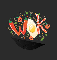 Wok logo for thai or chinese restaurant stir fry vector