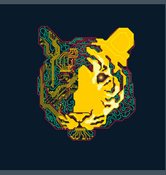 electronic tiger vector image