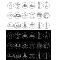 Popular travel landmarks icons vector image