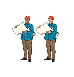 two men builder african american and caucasian vector image