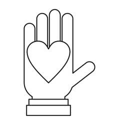 Hand with heart icon outline style vector image
