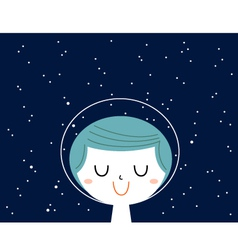 Little astronaut boy with stars background behind vector image