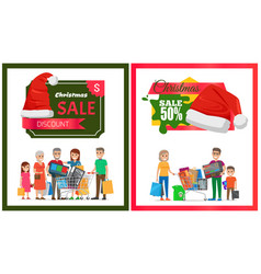 pair of christmas sale cards vector image