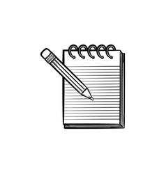pencil and notepad with binders hand drawn icon vector image vector image