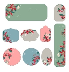 Set of different Christmas stickers vector image