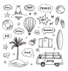 set of hand drawn travel doodle tourism vector image
