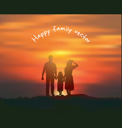 silhouette happy family sun and sky sunset vector image vector image