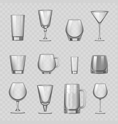 transparent empty glasses and stemware drinks vector image