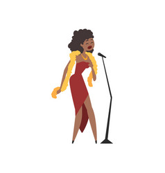 african american female jazz singer in red dress vector image vector image