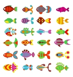 Aquarium flat style fishes icons vector image vector image