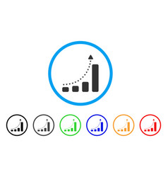 bar chart positive trend rounded icon vector image