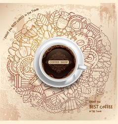 Coffee Grunge Pattern Template vector image vector image